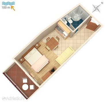 Studio flat AS-4810-a - Apartments Drašnice (Makarska) - 4810