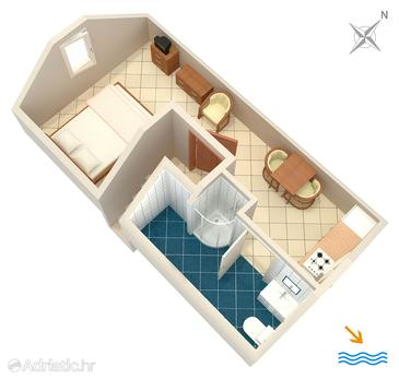 Primošten, Plan kwatery w zakwaterowaniu typu studio-apartment, WIFI.
