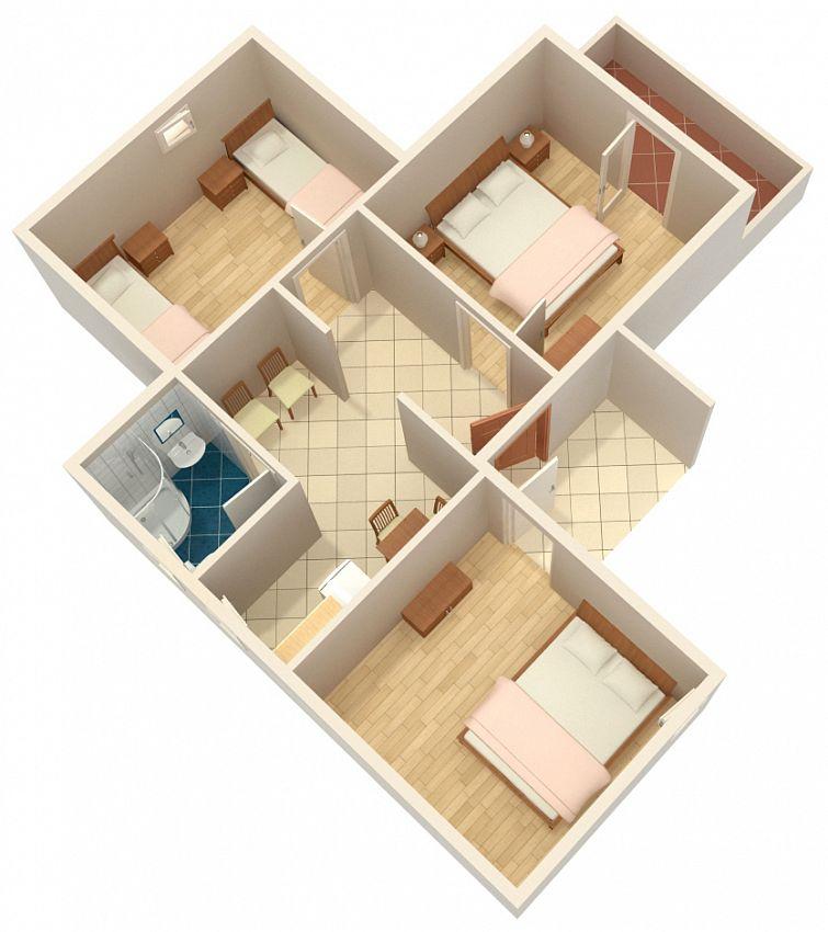 Apartmány s parkoviskom v meste Duće - 4852