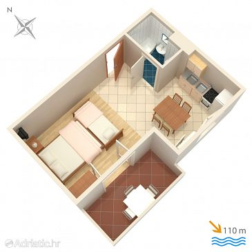 Studio flat AS-4868-f - Apartments Balića Rat (Omiš) - 4868