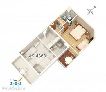 Studio flat AS-4868-h - Apartments Balića Rat (Omiš) - 4868