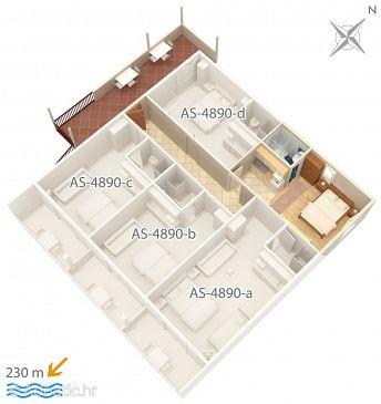 Studio flat AS-4890-e - Apartments Drvenik Gornja vala (Makarska) - 4890
