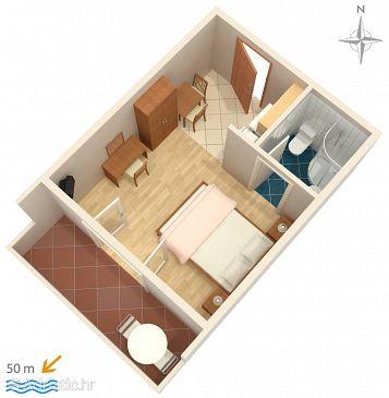 Palit, Plan u smještaju tipa studio-apartment, dopusteni kucni ljubimci i WIFI.