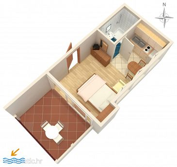 Makarska, Plan u smještaju tipa studio-apartment, dopusteni kucni ljubimci i WIFI.