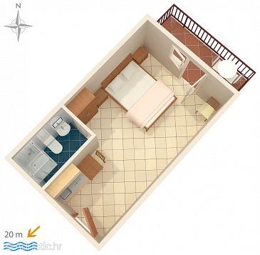 Stomorska, Plan kwatery u smještaju tipa studio-apartment, dopusteni kucni ljubimci.
