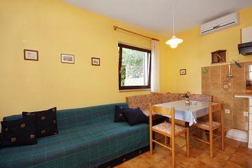 Njivice, Dining room u smještaju tipa studio-apartment, dostupna klima, dopusteni kucni ljubimci i WIFI.