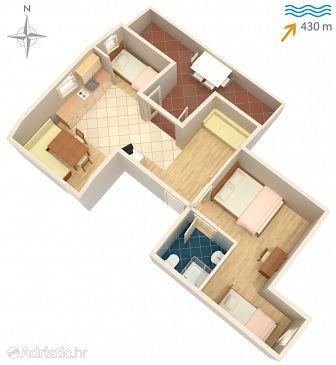 Vantačići, Plan u smještaju tipa apartment, dopusteni kucni ljubimci i WIFI.