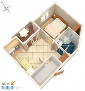 Njivice, Plan kwatery w zakwaterowaniu typu apartment, WIFI.