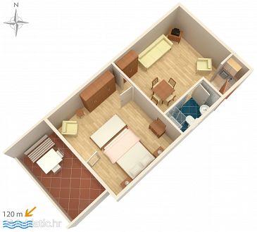 Novi Vinodolski, Plan u smještaju tipa apartment, dopusteni kucni ljubimci i WIFI.