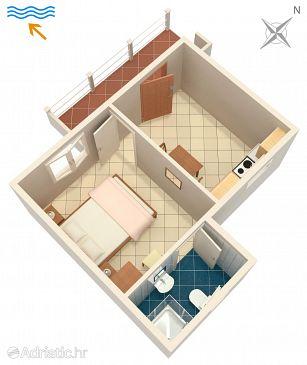 Tri Žala, Plan u smještaju tipa apartment, dopusteni kucni ljubimci i WIFI.