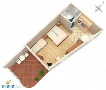 Bol, Plan kwatery u smještaju tipa studio-apartment, dopusteni kucni ljubimci i WIFI.