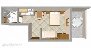 Jelsa, Plan u smještaju tipa studio-apartment, dopusteni kucni ljubimci i WIFI.