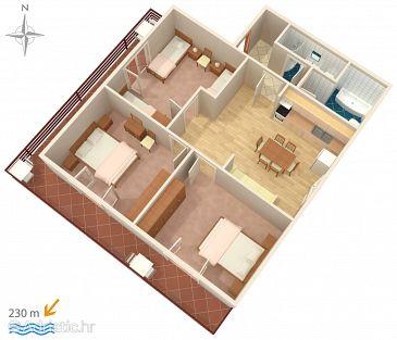 Zadar - Diklo, Plan u smještaju tipa apartment, WIFI.