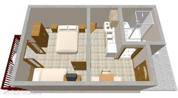 Hvar, Plan u smještaju tipa studio-apartment, dopusteni kucni ljubimci i WIFI.