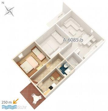 Podgora, Plan u smještaju tipa apartment, dopusteni kucni ljubimci i WIFI.