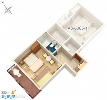 Studio flat AS-6085-b - Apartments and Rooms Podgora (Makarska) - 6085