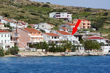 Obiekt Metajna (Pag) - Zakwaterowanie 6289 - Apartamenty blisko morza ze żwirową plażą.