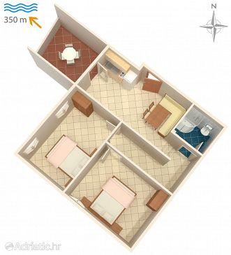 Novalja, Plan u smještaju tipa apartment, dopusteni kucni ljubimci.
