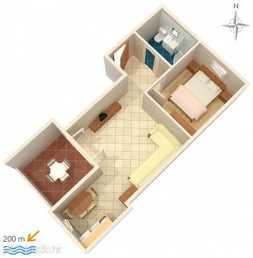 Novalja, Plan u smještaju tipa apartment, WIFI.