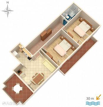 Novalja, Plan u smještaju tipa apartment, dopusteni kucni ljubimci i WIFI.