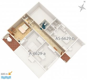 Studio flat AS-6629-a - Apartments Seline (Paklenica) - 6629