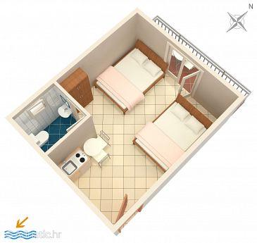 Podaca, Plan kwatery u smještaju tipa studio-apartment, WIFI.