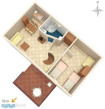 Baška Voda, Plan u smještaju tipa apartment.