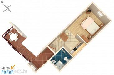 Novigrad, Plan u smještaju tipa studio-apartment, dopusteni kucni ljubimci i WIFI.