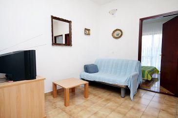 Tkon, Pokój dzienny w zakwaterowaniu typu apartment, dostupna klima, dopusteni kucni ljubimci i WIFI.