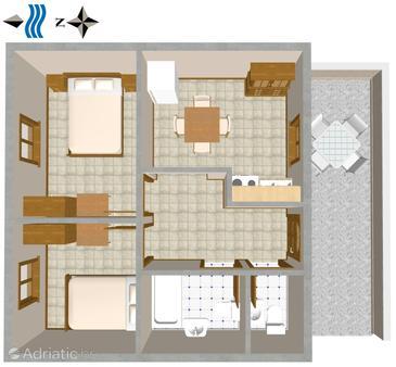 Povlja, Plan u smještaju tipa apartment, WIFI.