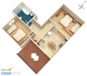 Mali Rat, Plan kwatery w zakwaterowaniu typu apartment, dopusteni kucni ljubimci i WIFI.