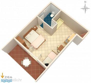 Duće, Plan u smještaju tipa studio-apartment, WIFI.