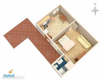 Split, Plan u smještaju tipa apartment, dopusteni kucni ljubimci.
