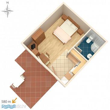 Novigrad, Plan u smještaju tipa studio-apartment.