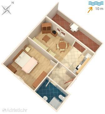 Stomorska, Plan u smještaju tipa apartment, dopusteni kucni ljubimci.