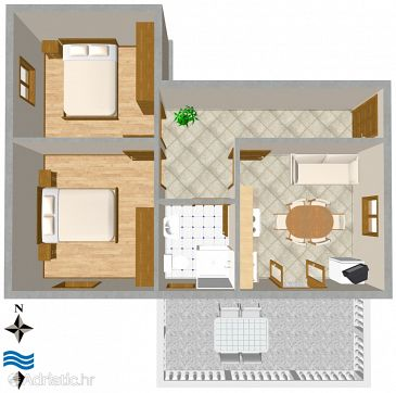 Ugljan, Plan u smještaju tipa apartment, dopusteni kucni ljubimci i WIFI.