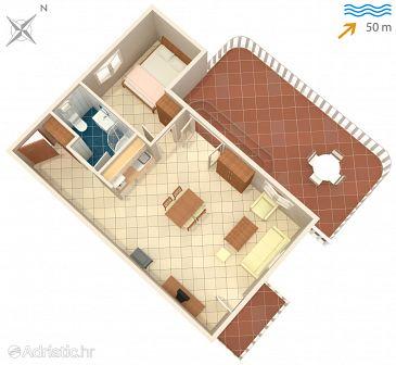 Okrug Gornji, Plan u smještaju tipa apartment, dopusteni kucni ljubimci i WIFI.