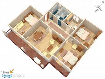 Biograd na Moru, Plan kwatery u smještaju tipa apartment, dopusteni kucni ljubimci i WIFI.