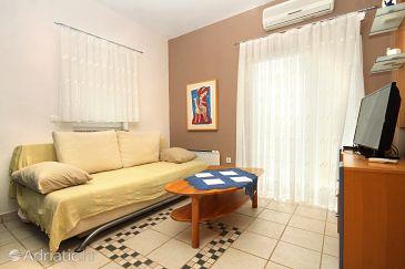 Stara Novalja, Living room u smještaju tipa apartment, dostupna klima, dopusteni kucni ljubimci i WIFI.