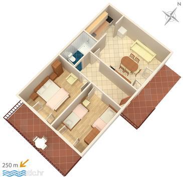 Marušići, Plan u smještaju tipa apartment.