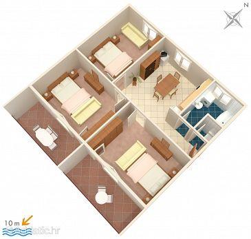 Brodarica, Plan u smještaju tipa apartment, dopusteni kucni ljubimci i WIFI.