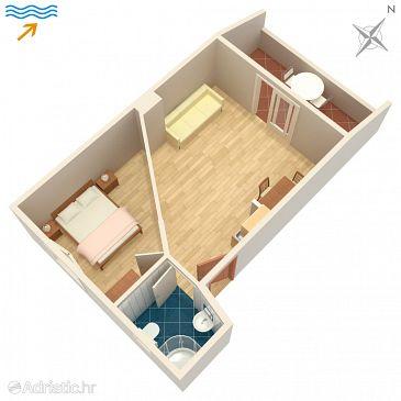 Zaklopatica, Plan u smještaju tipa apartment, dopusteni kucni ljubimci i WIFI.